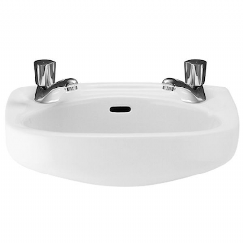 Roca Ibis Round Cloakroom Basin - 400mm - 2 Tap Hole - White